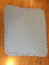Lullaby Club Blue Chenille Knit Baby Blanket Open Work Edges Target Brand