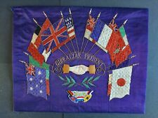 More details for large antique ww1 'gibraltar present' woven silk panel with flags of the allies