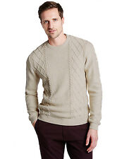 Marks & Spencer Mens Fisherman Cable Knit Jumper New M&S Crew Neck Aran Sweater