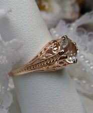 White Topaz Sterling Silver & Rose Gold Art Deco Filigree Ring {Made To Order}