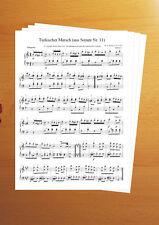 Klavier Noten Türkischer Marsch Mozart mit Fingersatz, sehr selten!