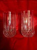 Set of 2 Cristal D'Arques Durand Longchamp Crystal 10 oz Flat Tumblers 9 Faceted