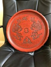 Vintage Korean wood Lacquered Red Tray Double Phoenix High Relief Artist Signed