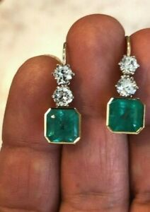 14k Yellow Gold over 925 Sterling Silver Green Emerald White Round CZ Gift her