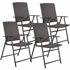 4 PC Outdoor Brown Folding Rattan Dining Table Patio Chair Furniture Camping Set