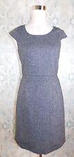 J CREW Suiting Gray Tweed Career Office Casual Wool Blend Sheath Cap Dress 0 XS