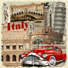 "Reproduction Vintage ""Italian"" Poster, Home Wall Art, Size: 16"" x 16"""