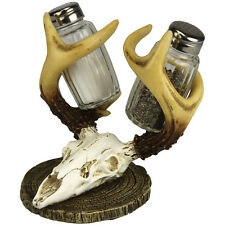 NEW Decorative Resin Deer Skull With Antlers Salt And Pepper Shakers Holder Set
