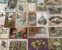 ~Lot of 25~ Pretty ~Flowers & Scenes~Vintage Floral Greetings Postcards-b365