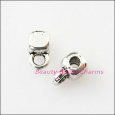 25Pcs Antiqued Silver Tiny Square Bail Bead Charms Connectors 3.5x7mm