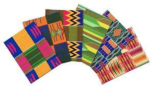 African Kente Print Ankara Fabric 6x Fat Quarter Bundle Patchwork Quilt Crafting
