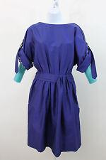 NEW LELA ROSE ROYAL BLUE COTTON CONVERTIBLE SLEEVE RUCHED SHIRT DRESS SZ 2 NWT