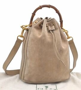 Authentic GUCCI Bamboo 2Way Hand Shoulder Bag Suede Leather Beige D0762