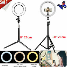 "8"" 10"" Dimmable Diva LED Ring Light Diffuser Stand Mirror Make Up Studio Video"