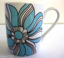 EUC WAWEL PORCELAIN AQUA & BROWN FLOWER DESIGN COFFEE MUG 8 OZ., Poland