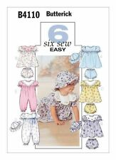 Butterick B4110 Sewing Pattern Infants Dress Panties Jumpsuit Hat Size 6-13.5kg
