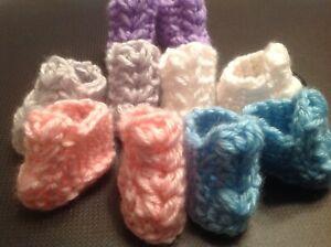 Crochet Doll Booties Crochet Doll Shoes Gray Lav Pink Turq & White Reborn Doll