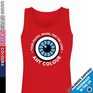 Custom Printed Vest • Ladies Image Tank Top Personalised Garment • Photo Text