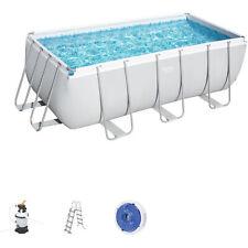 Bestway Power Steel Frame Pool Komplett-Set mit Sandfilteranlage und Sicherheitsleiter - 412x201x122cm (56457)