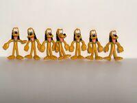Walt Disney Pluto Dog PVC Toy Figure w/ Green Collar Lot Of 7 Nice