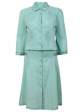 Whistles turquoise green aqua shirt dress embroidered cotton summer beach 12 14