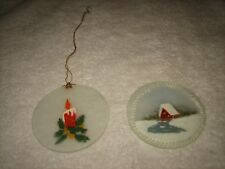 VTG SET 2 ROUND FLAT GLASS CHRISTMAS ORNAMENT - 1 W/ CANDLE DESIGN - 1 W/ HOUSE