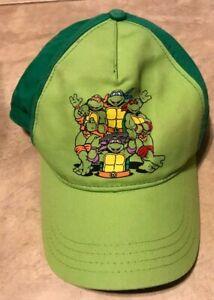 Teenage Mutant Ninja Turtles TMNT Nickelodeon Green Hat Cap Youth Strap Back
