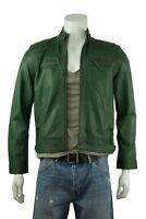Men`s Leather Green 2 Zip Classic Biker Rock Fashion Jacket