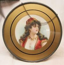Victorian Gypsy Lady, Boho Style Metal & Glass Flue Cover, Original ,Complete