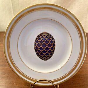 """Limoges DESSERT PLATE Faberge """"Pine Cone Egg"""" 50th Anniversary Desert Inn 2000"""