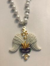 Fleur De Lis Angel Wings Mardi Gras Beads