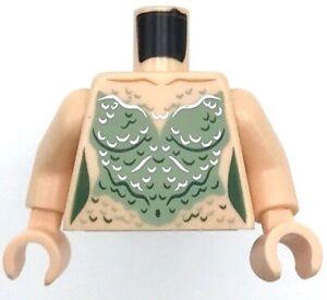 Lego New Light Flesh Minifigure Torso Mermaid Sand Green Scales Pattern