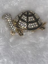 Swarovski Swan Signed Pin Brooch Gold Plated Turtle set with Crystals