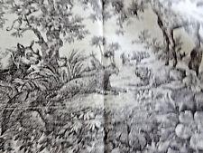 "VTG TOILE FABRIC FROM DESIGNER STORE:""RAYMOND WAITES - 'SOUTH SEAS' CREAM/DK GRA"