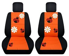 Fits 2004-2010 VW Beetle   front set car seat covers with design  black-orange