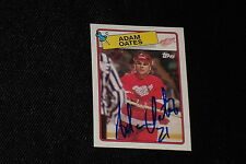 HOF ADAM OATES 1988-89 TOPPS SIGNED AUTOGRAPHED CARD #161 RED WINGS
