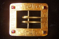 VINTAGE 19th C GOLD BUCKLE GREEK KEY MOTIF & 4 STONES ~ ARTS & CRAFTS MOVEMENT