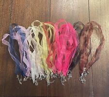 10Pcs Assorted Organza Ribbon Cord Necklaces with Lobster Clasp Extender Chain
