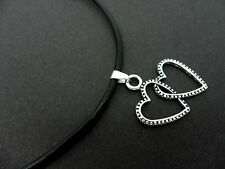 """A LADIES GIRLS BLACK LEATHER CORD 13 - 14"""" CHOKER HEART NECKLACE. NEW."""