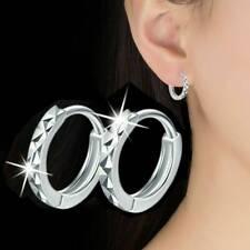 Ohrringe Ohrstecker 925 Silber Mini Klapp Creolen gemustert 10mm*2mm NEU DE
