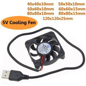 DC 5V USB Cooling Cooler Fan Computer PC Brushless Sleeve Bearing Fan Silent Hot