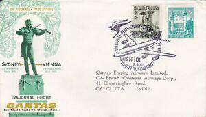 AFC1411) Australia 1965 Inaugural flight Vienna-India, Qantas covers, AAMC 1547a