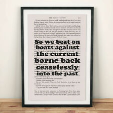 The Great Gatsby Book Page Art So We Beat On Print Quote