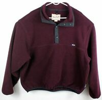 Vintage Woolrich Polartec Mens XL Fleece Quarter Snap Pull Over Maroon Sweater