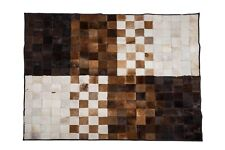 "Aydin Mosaic Brown White Natural Cowhide Patchwork Area Rug Rectangl 4'7""x6'7"""