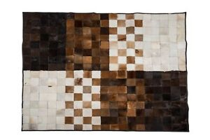 """Aydin Mosaic Brown White Natural Cowhide Patchwork Area Rug Rectangl 4'7""""x6'7"""""""