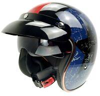 DOT Motorcycle Open Half Face Jet Helmet Motobike 3/4 Scooter Helmets+Visor