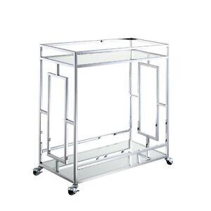 Town Square Bar Cart - Clear Glass / Mirror / Chrome