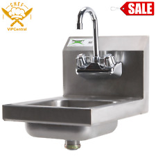 12 X 16 Wall Mount Hand Sink Stainless Steel Commercial Wash Kitchen With Faucet