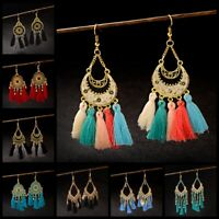 Women's Bohemian Round Rainbow Carved Flower Gemstone Tassels Drop Hook Earrings